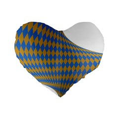 Curve Yellow Blue Standard 16  Premium Flano Heart Shape Cushions by Jojostore