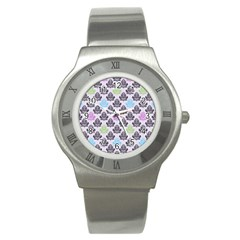 Damask Small Flower Purple Green Blue Black Floral Stainless Steel Watch by Jojostore