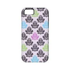 Damask Small Flower Purple Green Blue Black Floral Apple Iphone 5 Classic Hardshell Case (pc+silicone) by Jojostore