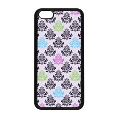 Damask Small Flower Purple Green Blue Black Floral Apple Iphone 5c Seamless Case (black) by Jojostore