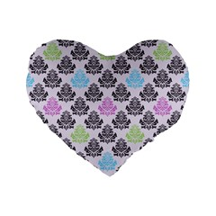 Damask Small Flower Purple Green Blue Black Floral Standard 16  Premium Flano Heart Shape Cushions by Jojostore