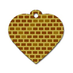 Tessellated Rectangles Lined Up As Bricks Dog Tag Heart (one Side) by Jojostore