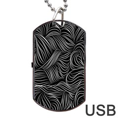 Flower Black Line Dog Tag Usb Flash (two Sides)  by Jojostore