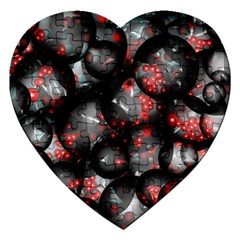 Black And Gray Texture With Bright Red Beads Jigsaw Puzzle (heart) by Jojostore