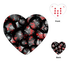 Black And Gray Texture With Bright Red Beads Playing Cards (heart)  by Jojostore