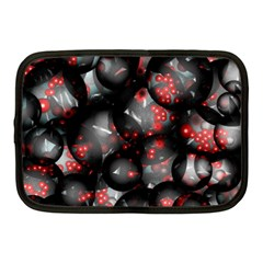 Black And Gray Texture With Bright Red Beads Netbook Case (medium)  by Jojostore