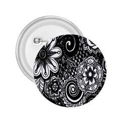 Black White Flower 2 25  Buttons by Jojostore