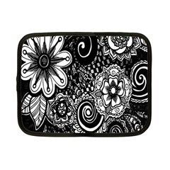 Black White Flower Netbook Case (small)  by Jojostore