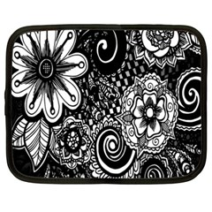Black White Flower Netbook Case (xxl)  by Jojostore