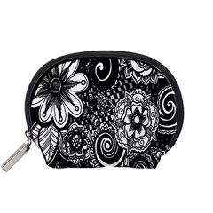 Black White Flower Accessory Pouches (small)  by Jojostore