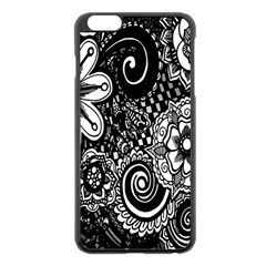Black White Flower Apple Iphone 6 Plus/6s Plus Black Enamel Case