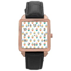 Cup Cake Rose Gold Leather Watch  by Jojostore