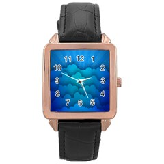 Blue Sky Jpeg Rose Gold Leather Watch