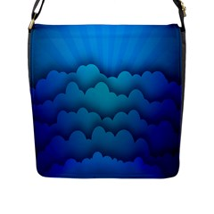 Blue Sky Jpeg Flap Messenger Bag (l)  by Jojostore