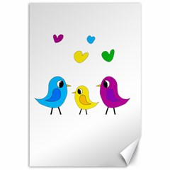 Bird Family Canvas 12  X 18   by Valentinaart