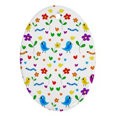 Cute Birds And Flowers Pattern Ornament (oval)  by Valentinaart