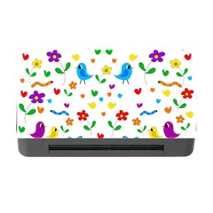 Cute Birds And Flowers Pattern Memory Card Reader With Cf by Valentinaart