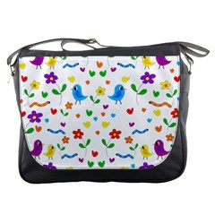 Cute Birds And Flowers Pattern Messenger Bags by Valentinaart