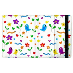 Cute Birds And Flowers Pattern Apple Ipad 2 Flip Case by Valentinaart