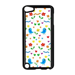 Cute Birds And Flowers Pattern Apple Ipod Touch 5 Case (black) by Valentinaart