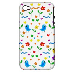 Cute Birds And Flowers Pattern Apple Iphone 4/4s Hardshell Case (pc+silicone) by Valentinaart