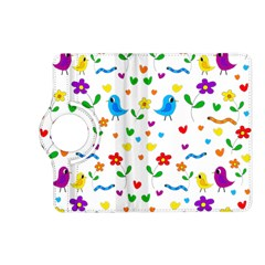 Cute Birds And Flowers Pattern Kindle Fire Hd (2013) Flip 360 Case by Valentinaart