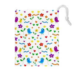 Cute Birds And Flowers Pattern Drawstring Pouches (extra Large) by Valentinaart