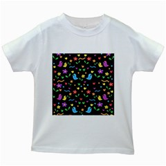 Cute Birds And Flowers Pattern   Black Kids White T Shirts by Valentinaart