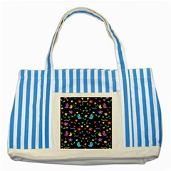 Cute Birds And Flowers Pattern   Black Striped Blue Tote Bag by Valentinaart