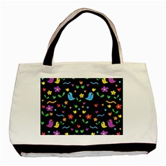 Cute Birds And Flowers Pattern   Black Basic Tote Bag (two Sides) by Valentinaart