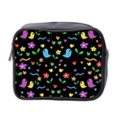 Cute Birds And Flowers Pattern   Black Mini Toiletries Bag 2 Side by Valentinaart