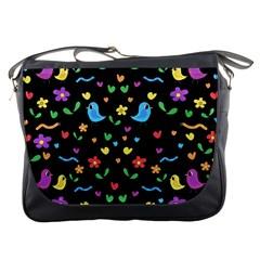 Cute Birds And Flowers Pattern   Black Messenger Bags by Valentinaart