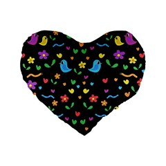 Cute Birds And Flowers Pattern   Black Standard 16  Premium Heart Shape Cushions by Valentinaart