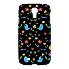 Cute Birds And Flowers Pattern   Black Samsung Galaxy S4 I9500/i9505 Hardshell Case by Valentinaart