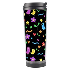 Cute Birds And Flowers Pattern   Black Travel Tumbler by Valentinaart