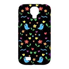 Cute Birds And Flowers Pattern   Black Samsung Galaxy S4 Classic Hardshell Case (pc+silicone) by Valentinaart