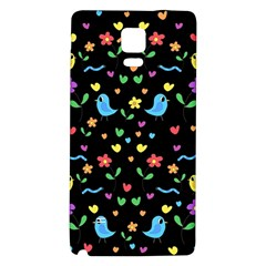 Cute Birds And Flowers Pattern   Black Galaxy Note 4 Back Case by Valentinaart