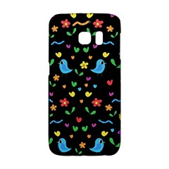 Cute Birds And Flowers Pattern   Black Galaxy S6 Edge by Valentinaart