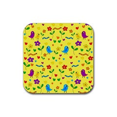 Yellow Cute Birds And Flowers Pattern Rubber Square Coaster (4 Pack)  by Valentinaart