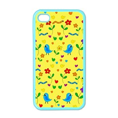 Yellow Cute Birds And Flowers Pattern Apple Iphone 4 Case (color) by Valentinaart