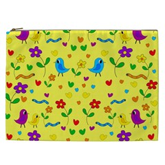 Yellow Cute Birds And Flowers Pattern Cosmetic Bag (xxl)  by Valentinaart