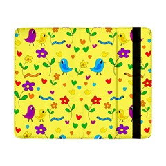 Yellow Cute Birds And Flowers Pattern Samsung Galaxy Tab Pro 8 4  Flip Case by Valentinaart