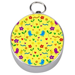 Yellow Cute Birds And Flowers Pattern Silver Compasses by Valentinaart