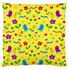 Yellow Cute Birds And Flowers Pattern Standard Flano Cushion Case (one Side) by Valentinaart