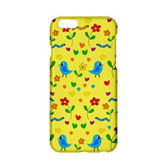 Yellow Cute Birds And Flowers Pattern Apple Iphone 6/6s Hardshell Case by Valentinaart