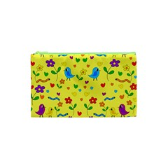 Yellow Cute Birds And Flowers Pattern Cosmetic Bag (xs) by Valentinaart