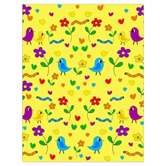 Yellow Cute Birds And Flowers Pattern Drawstring Bag (large) by Valentinaart