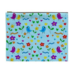 Blue Cute Birds And Flowers  Cosmetic Bag (xl) by Valentinaart