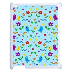 Blue Cute Birds And Flowers  Apple Ipad 2 Case (white) by Valentinaart