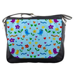 Blue Cute Birds And Flowers  Messenger Bags by Valentinaart